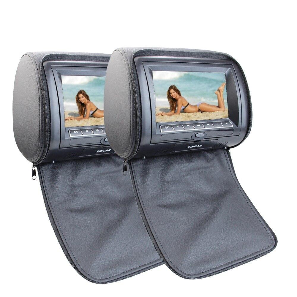 7 pouces LCD voiture oreiller moniteurs avec région lecteur DVD gratuit double double écrans noir paire de appuie-tête intégré IR FM transmetteur 3