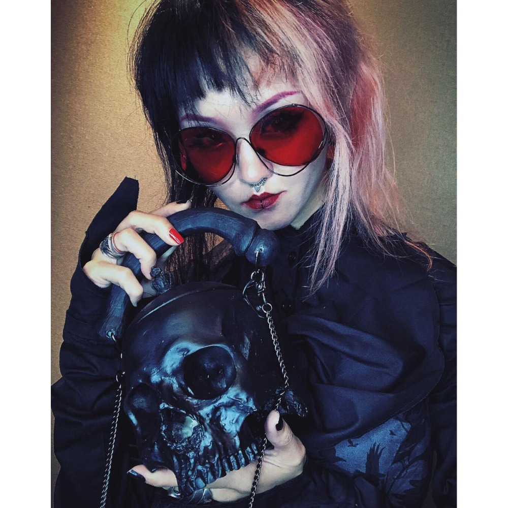 Stylish Black 3D Skull Bag New Lolita Handbags Makeup Chain Shoulder Bag Big Skull Women Messenger Bag Halloween Purse 3pcs i9300 power supply ic max77686