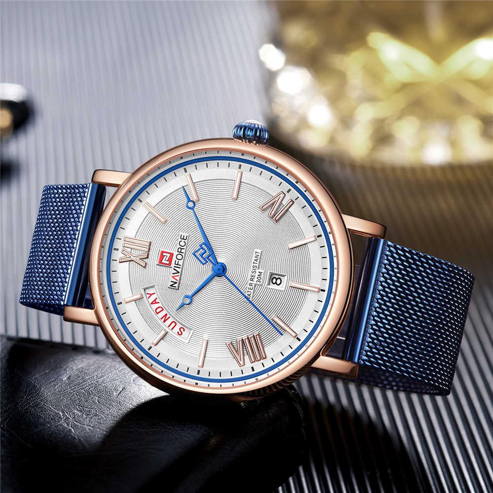 NAVIFORCE Mode montres homme Top Marque De Luxe montres à quartz Hommes décontracté Maille En Acier 3ATM Étanche montre de sport Relogio Masculino