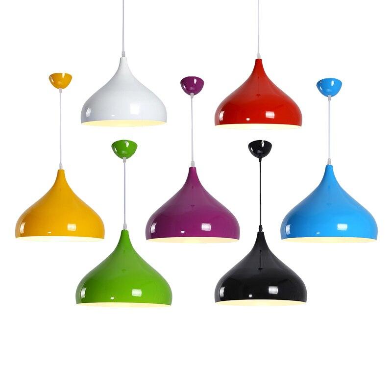 Современный цветной подвесной светильник E27 светодиодный 110 220 В алюминиевый черный/белый/красный/зеленый/желтый одноголовый подвесной све