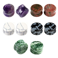 Wholesale 6-16mm Natural Stone Snowflakes Obsidian Amethyst  Drum Shape Saddle Plug Gauge Ear Stretcher Body Piercing Jewelry