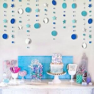Image 3 - 4 м блестящий круг звезда гирлянда Бантинг бумага баннер украшение для вечеринки свадьбы дня рождения детской комнаты подвесные принадлежности