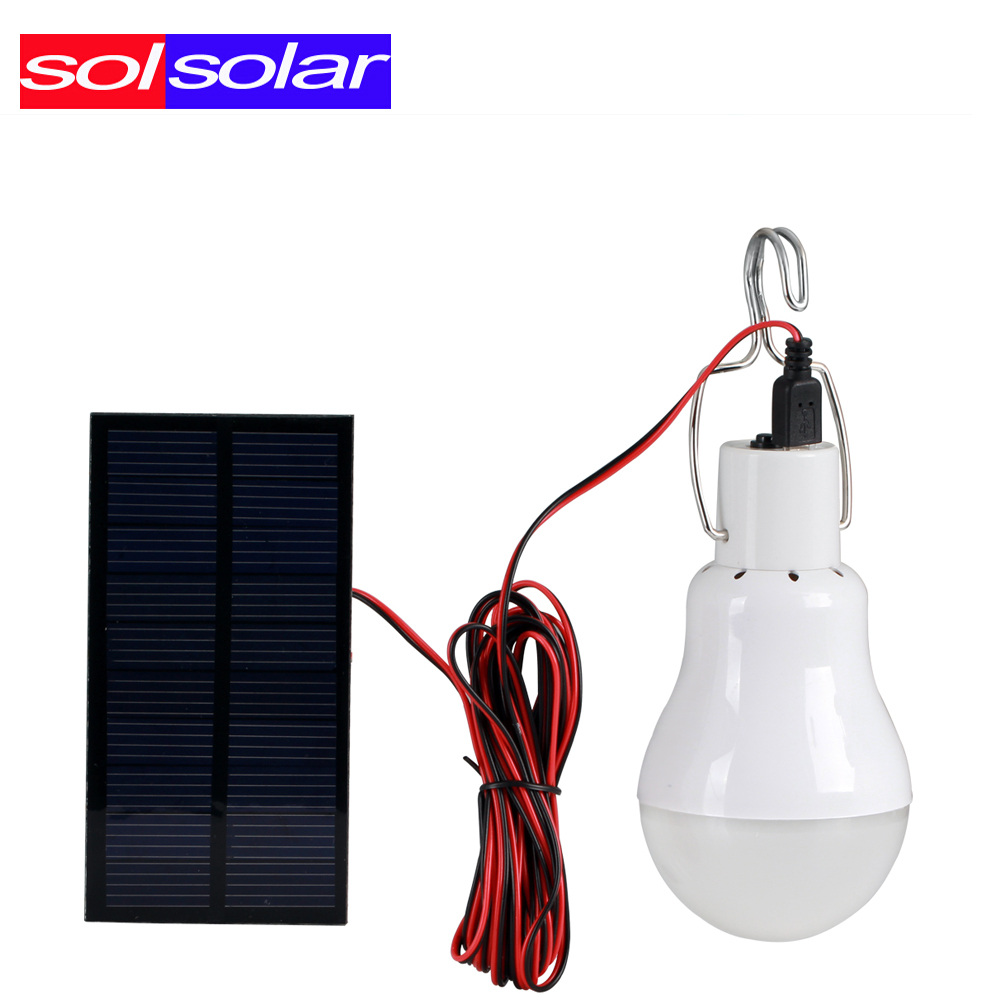 Outdoor/Indoor Solar Powered led  Lighting System Light Lamp 1 Bulb solar panel Low-power camp nightfair travel used 5-6hours