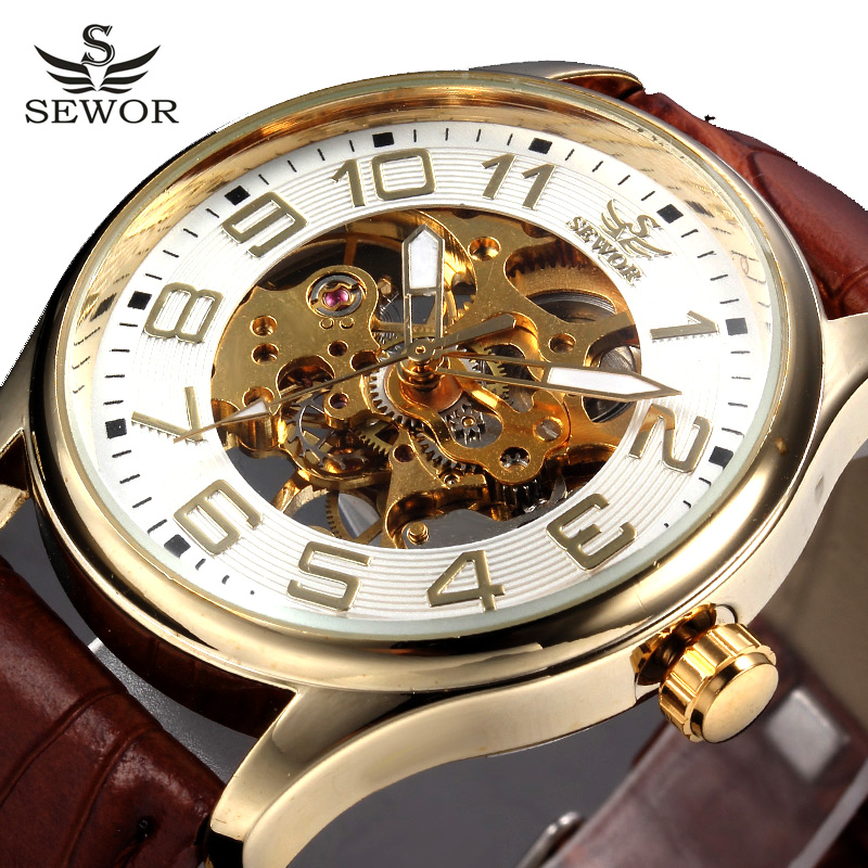 SEWOR Top Brand Skeleton Watch Men Transparent Clock Male Black Leather Wristwatches Mens Mechanical Watches Montre Homme automatic watch men rose gold mens watches top luxury brand read mechanical leather wristwatches skeleton male clock man relogio