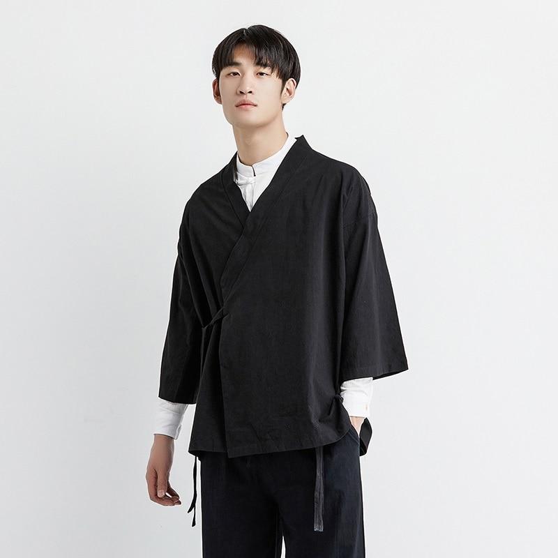 Japanischen kimono strickjacke männer haori yukata männlichen samurai kostüm kleidung kimono jacke herren kimono shirt yukata haori KZ2033