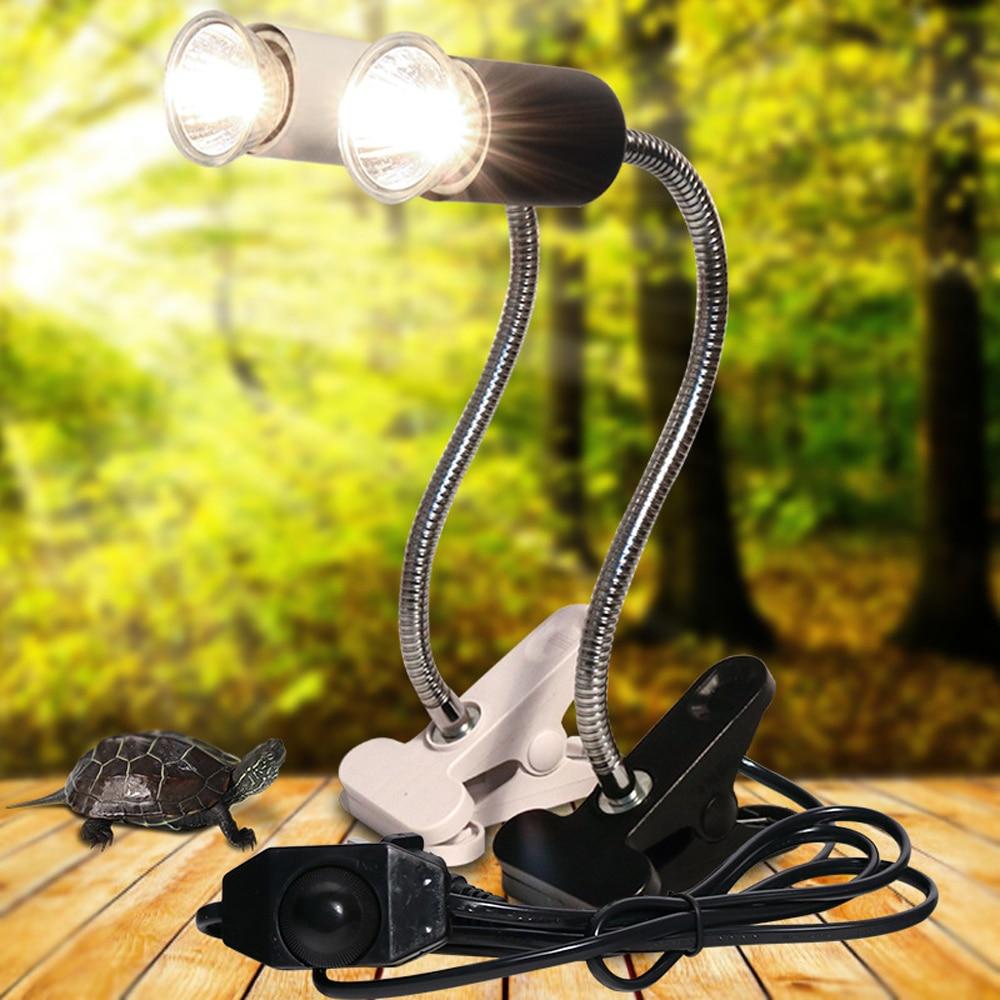 UVA+UVB 3.0 Reptile Lamp Set With Clip-on Bulb Lamp Holder Turtle Basking UV Heating Lamp Kit Tortoises Light Lizards Lighting