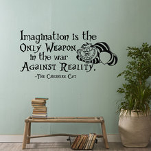 Wall Decal Alice In Wonderland Imagination Is The Only Weapon Quotes Kids Nursery Room Art Decor Vinyl Sticker YD-307