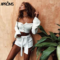 Aproms White Off Shoulder Knitted Tank Tops Womens Crop Top Buttons Elastic Slim Basic Camis 2019 Streetwear Flare Sleeve Tees