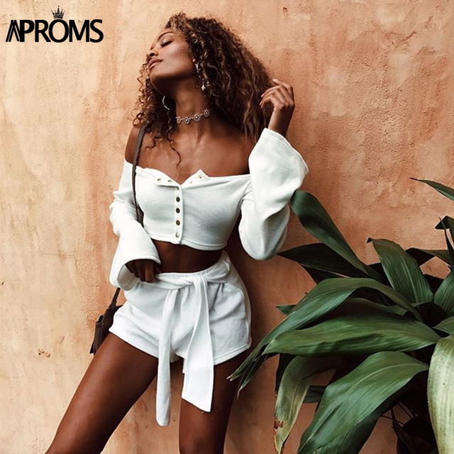 acb3e4eade5 Aproms White Off Shoulder Knitted Tank Tops Womens Crop Top Buttons Elastic  Slim Basic Camis 2019