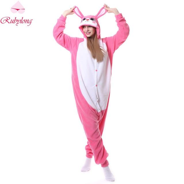 d9a006855 Rubylong Unisex Pijamas Mulheres Homewear Conjuntos de Pijama Bonito Coelho  Rosa Dos Desenhos Animados de Animais