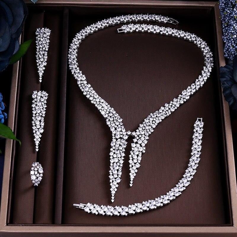 Der GüNstigste Preis Fashion Luxury Sparking Brilliant Kubikzircon Tropfenohrring Halskette Schweren Abendessen Schmuck Sst Hochzeit Brautkleid Zubehör Dauerhafter Service