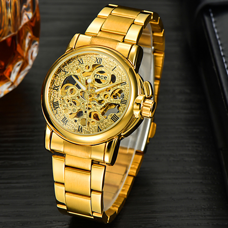 цены  Montre Homme MCE New Number Sport Design Bezel Golden Watch Mens Watches Top Brand Luxury Clock Men Automatic Skeleton Watch