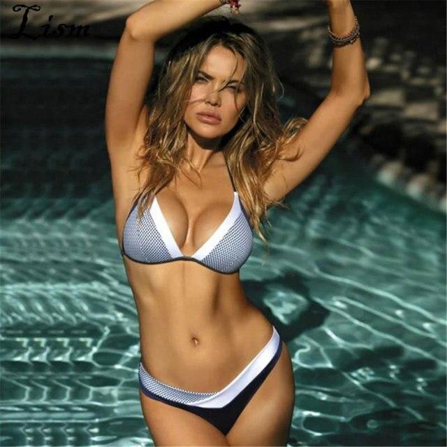4f40b192c2eb 2019 nuevo bikini con estampado de cebra a cuadros traje baño brasileño  femenino metálico europeo transparente String Swimdress
