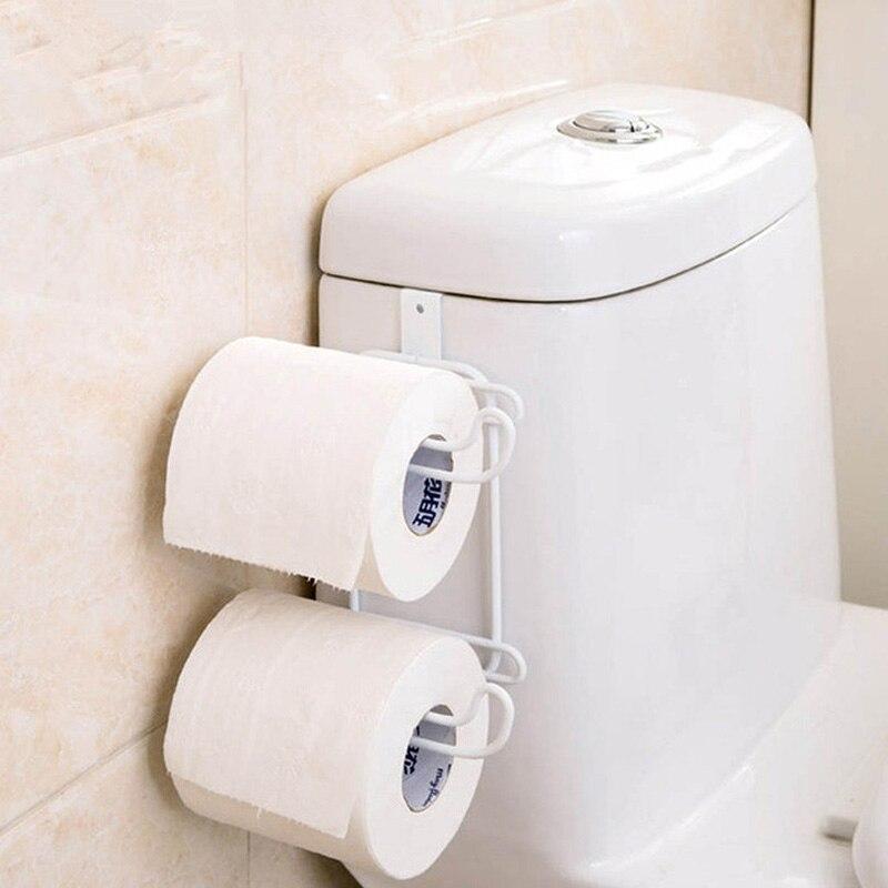 WIILII 1 PC เหล็กเหล็ก 2 ชั้นห้องน้ำม้วนกระดาษตะขอชั้นวางห้องน้ำแขวน Organizer ตู้ครัวประตูผ้าเช็ดตัวผู...