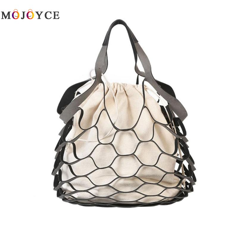 2Pc Hollow Out Mesh Net Design Handbags Holiday Summer Beach String Bucket Bags Simple Canvas Tote Bolsa Feminina