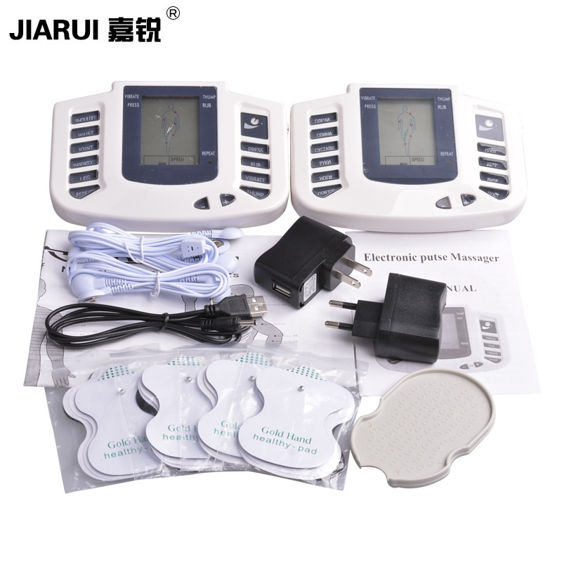 JIARUI Electrical Muscle Stimulator Full Body Relax Therapy Massager Pulse Tens Acupuncture Health Care Slimming Machine+8pads electric stimulator full body relax muscle therapy massager pulse tens acupuncture foot neck back massage slimming slipper 8 pad