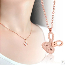 silver/gold/rose gold color 316L stainless steel cute rabbit necklace on sale