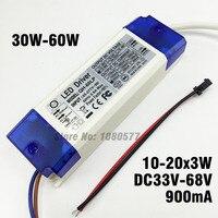 2 Pieces 30W 40W 50W 60W 10 20x3W 900mA LED Driver DC33 68V High Power LED