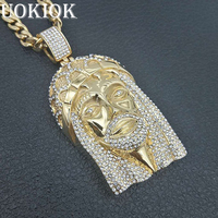Hip Hop Iced Out Rhinestone Big Jesus Head Necklace For Men Stainless Steel Golden Necklaces Pendants Male Christian Jewelry