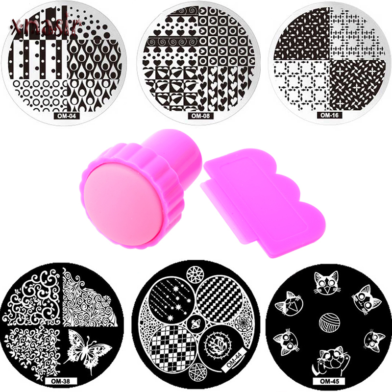 Nail Art Templates New Useful Nail Art Stamp Stamping Silicone Metal Handle Stamper Scraper With Cap Plate Printing Tools Manicure Kit Set Z974 Cheap Sales 50% Nail Art