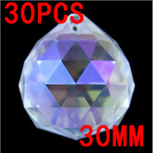 30 teilelos 30mm kristallglas kronleuchter kugeln in 1 loch kristall prism glaskugeln kronleuchter girlande strang hochzeit - Kronleuchterkugeln