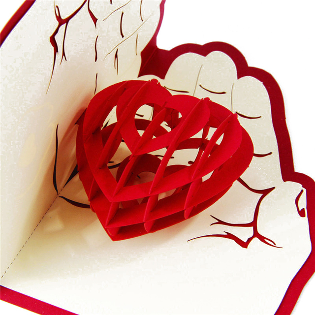 Hot 1 Pc Romantic Love Heart In Hand 3D Laser Cut Pop Up
