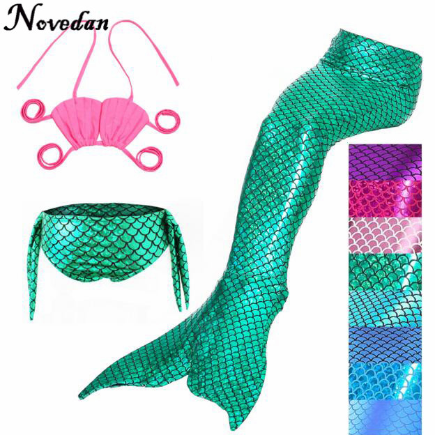 3PCS/Set The Little Mermaid Tail Costume Princess Ariel Children Mermaid Tail Cosplay Kids For Girl Fancy Swimsuit