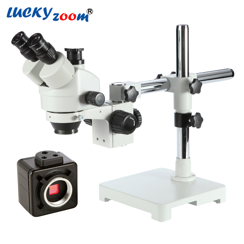 Lucky Zoom Brand 7X-45X Zoom Single Boom Stand Trinocular Stereo Zoom Microscope 100mm Working Distance W/ 5MP Microscope Camera