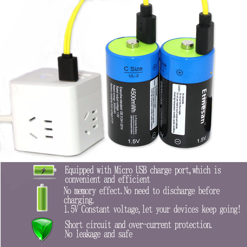 2pcs/lot Etinesan 1.5V 4500MWH li-polymer lithium rechargeable battery C size battery, C li-ion battery with USB charging cable кухонная мойка omoikiri daisen 60 be 600х510 ваниль 4993616