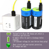 2pcs/lot Etinesan 1.5V 4500MWH li polymer lithium rechargeable battery C size battery, C li ion battery with USB charging cable