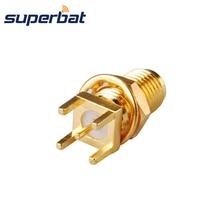 Superbat SMA Jack Bulkhead PCB Mount Thru Hole Straight RF Coaxial Connector Goldplated