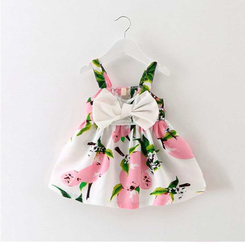 girl dress baby clothes brand design sleeveless print bow dress 2018 summer girls baby clothing cool cotton party princess dress