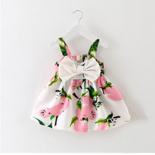 все цены на girl dress baby clothes brand design sleeveless print bow dress 2018 summer girls baby clothing cool cotton party princess dress онлайн