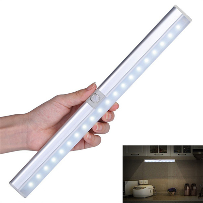 CLAITE Portable 20 LED USB Rechargeable Light Sensor & PIR Mtion Cabinet Closet Light Night Lamp for Kitchen Stairs Wardrobe stick on anywhere sensor lamp 20 led pir motion sensing light usb charging wardrobe closet under cabinet night stairs