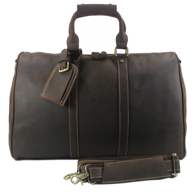 c68425c33fee Vintage Crazy Horse Genuine Leather Travel bag Men Duffel Bag Luggage  Travel Bag Large Men Leather Duffle Bag Weekend Tote Big