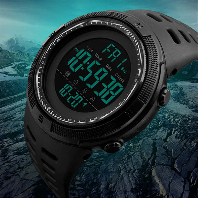 50M Swim Watch Sports Men's Watches Double Display Alarm Chrono Digital Wristwatch Digital Waterproof Man Clock Men SKMEI 1251