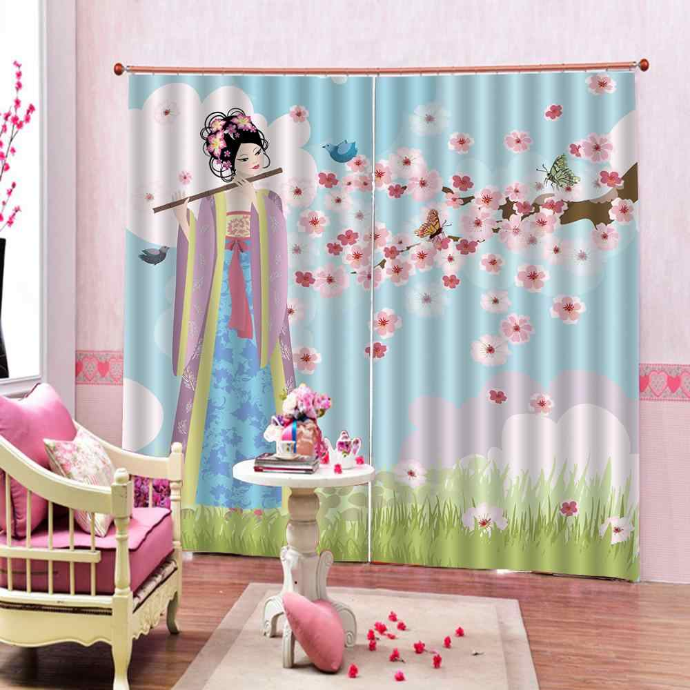 Customized size Luxury Blackout 3D Window Curtains For Living Room chinese girl curtains for bedroom Blackout curtain