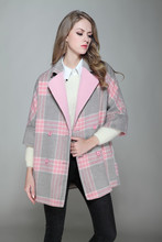 New Year Women Cashmere Coat 2016 Winter Long Coat Large Size Outerwear Woolen Overcoat Women Winter Jacket Pink Plaid Coat