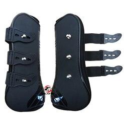 Botas para tendón de neopreno de caballo envío gratis, carcasa de PU. Par de protección de salto de caballo, color negro