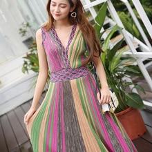 Italian Style Knitting Clothing High Quality Classic Iridescence 2018 Summer New Stripes Sexy V-neck