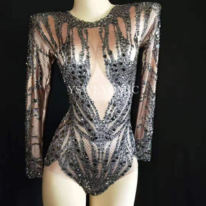 Image 5 - Shinny Black Crystals Nude Bodysuit Performance Outfit Costume Party Celebrate Rhinestones Stretch Leotard Stage Dance Wear Y52