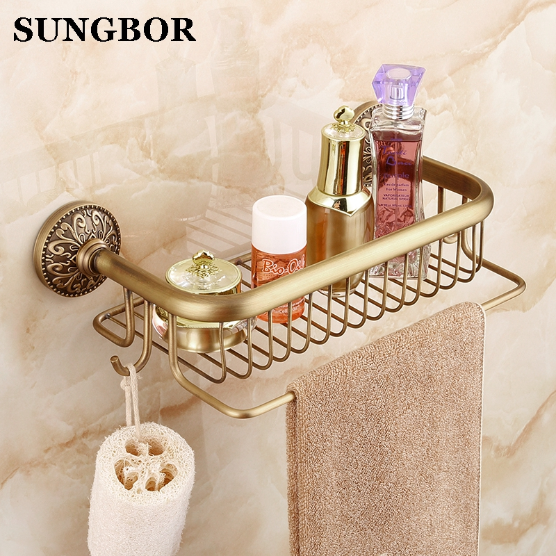 European Antique Brass Bathroom Shelf Shower Storage Rack Shampoo Bath Towel Tray Home Bathroom Shelves Single
