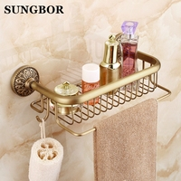 European Antique Brass Bathroom Shelf Shower Storage Rack Shampoo Bath Towel Tray Home Bathroom Shelves Single Tier Accessories
