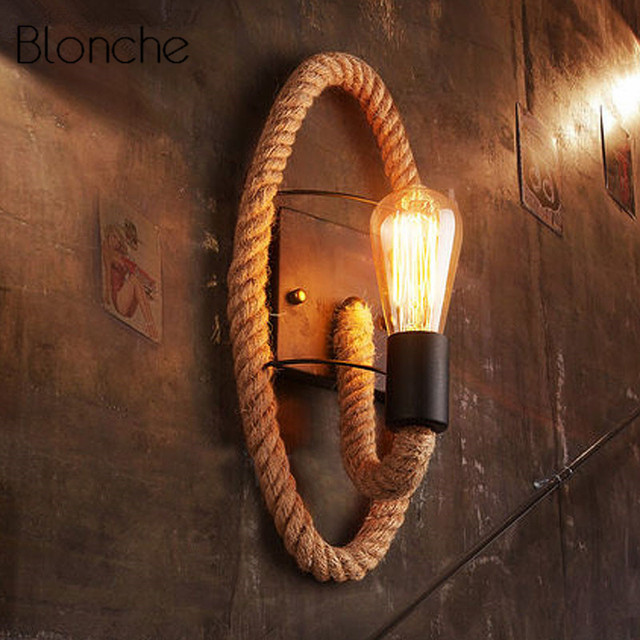 the best attitude 6b826 6f368 US $39.9 40% OFF|Retro Rope Wall Lamp Industrial Decor Stairs Wall Lights  American Luminaire for Home Decor Creative Bar Iron E27 Light Fixtures-in  ...