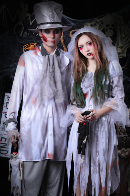 Exceptional Halloween Cosplay Vampire Couple Uniform Dead Beauty Ghost Bride Costume  Corpse Bridal Costumes Ghost Dress Adult Zombie Suit