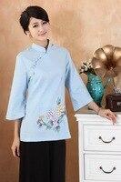 National Chinese Tops Women Cotton Linen Blouse Summer T Shirt Size: S to 3XL