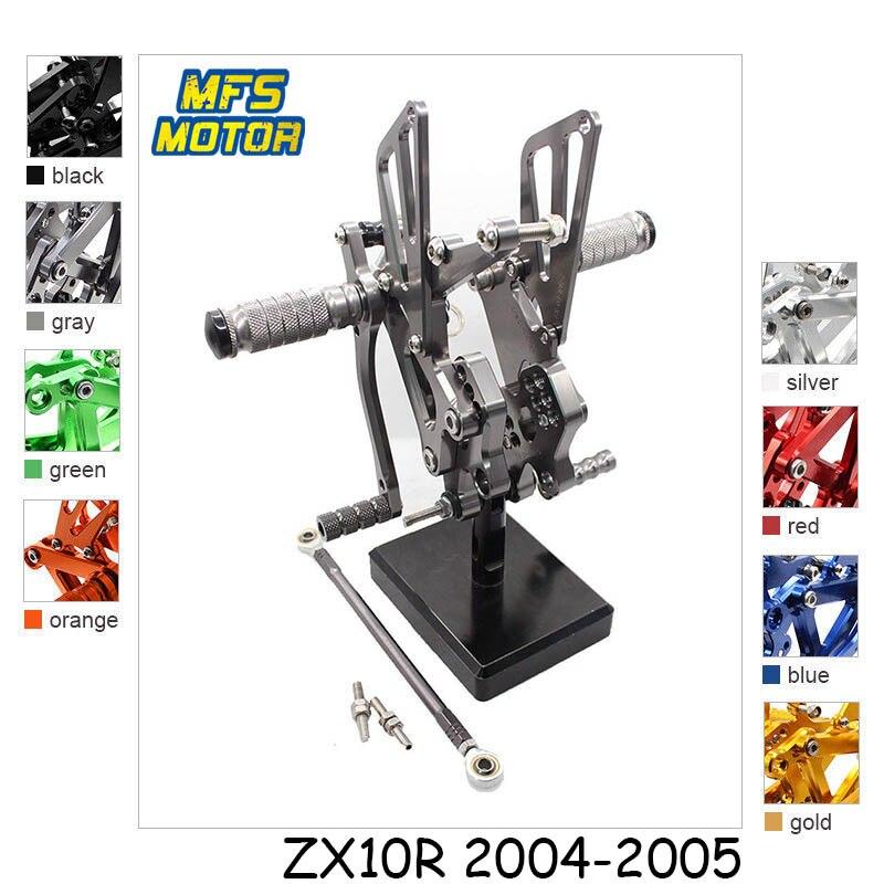 For Kawasaki Ninja ZX10R 2004 2005 CNC Adjustable Rearset Foot Rest Foot Pegs ZX 10R Foot Rests майка terranova цвет сиреневый