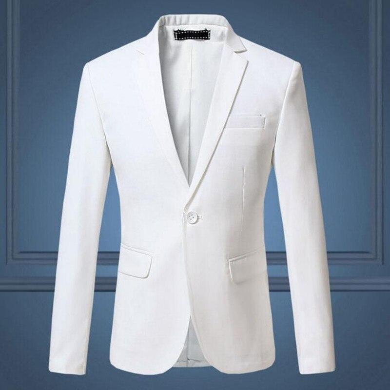 Hot Sale New 2018 Fashion Men Suit Jacket Navy Red White Jacquard