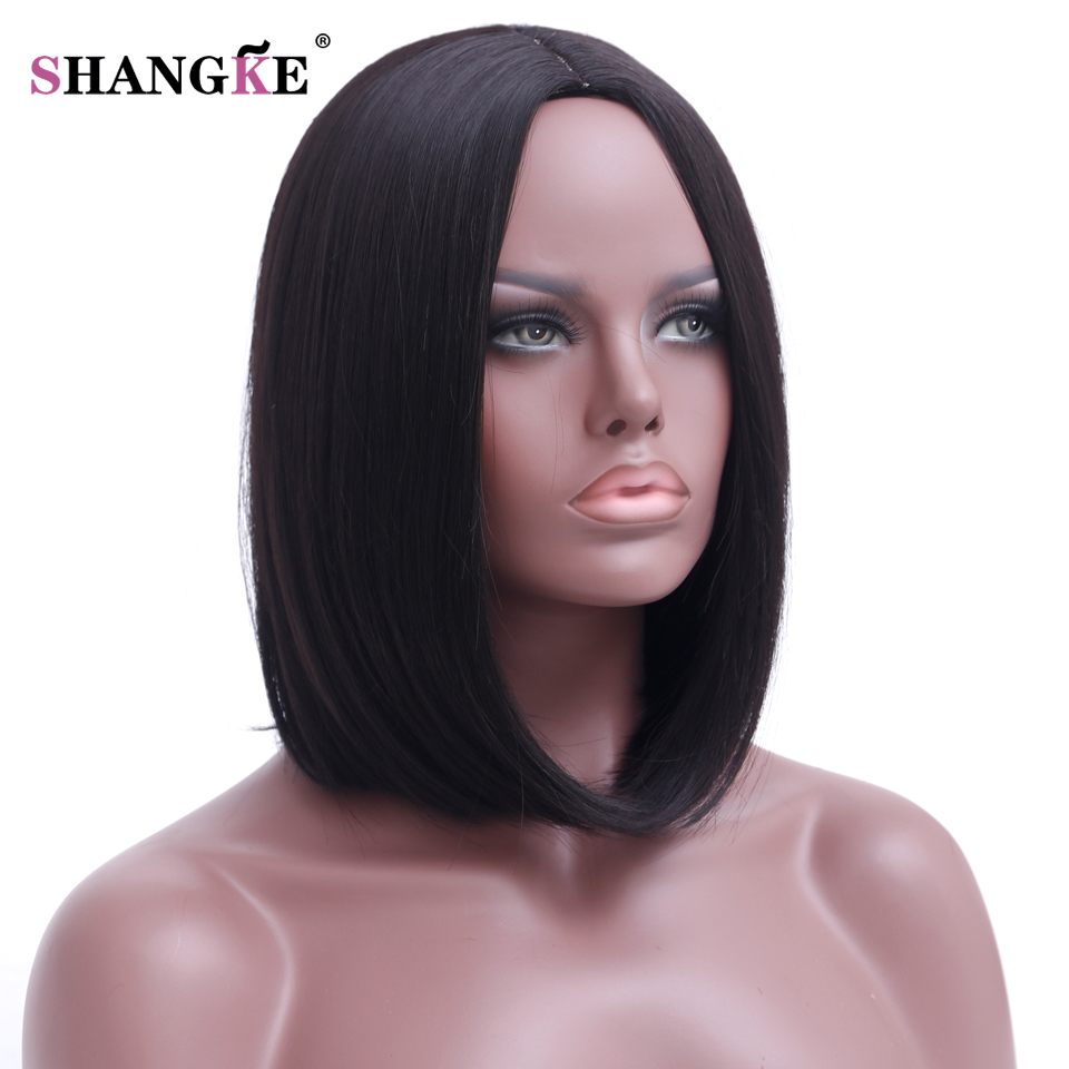 SHANGKE Hair Short Bob Black Wig Women Natural Synthetic Wigs For Women  Heat Resistant Synthetic Bob Hair Women f35b49b2a421