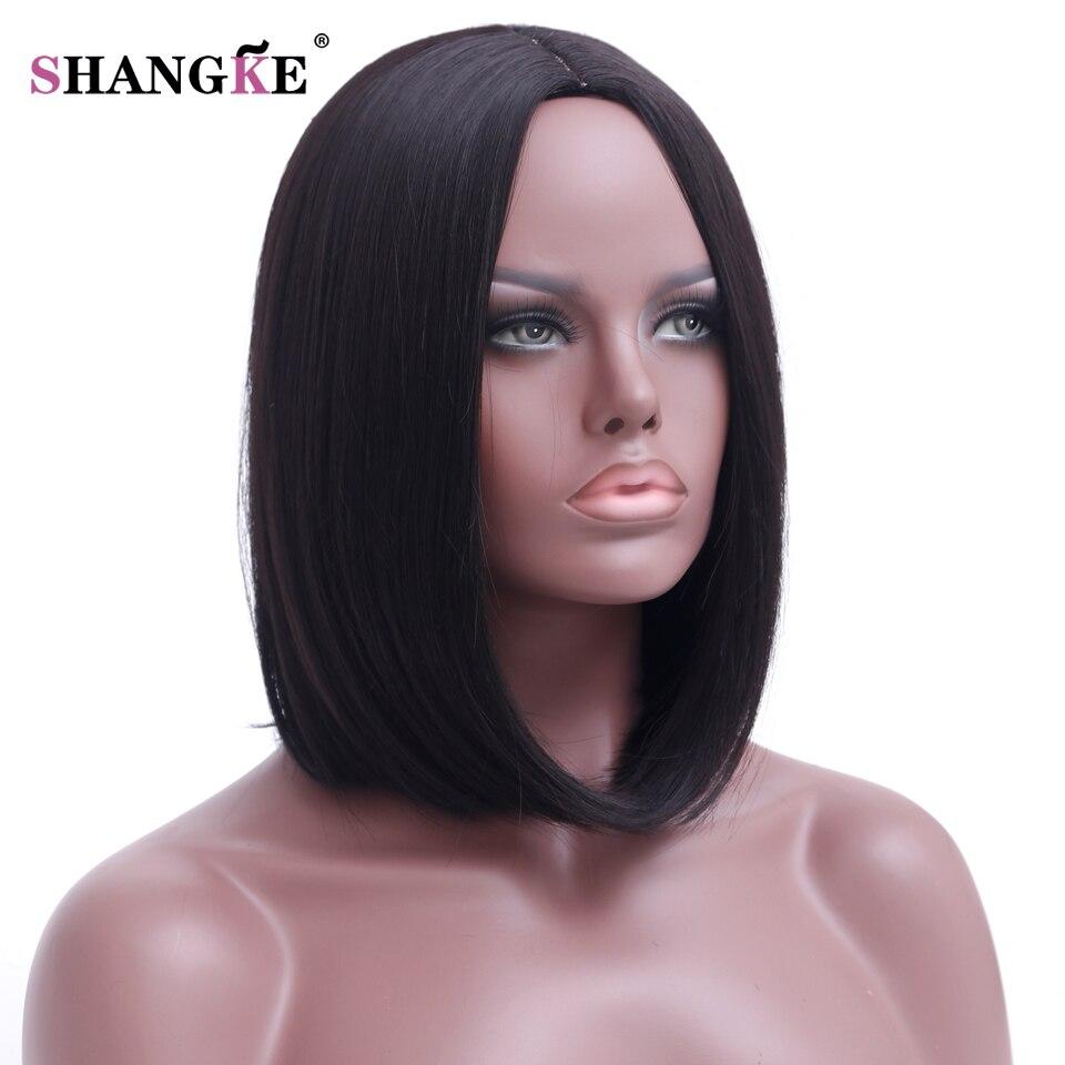 Shangke волосы короткие Боб черный парик Для женщин натуральный Искусственные парики для Для женщин термостойкие синтетические волос Боб Для женщин